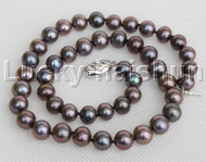 """natural 17"""" 10mm near round peacock black pearls necklace 18KGP clasp j12151"""