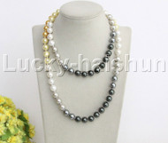 """Genuine length 35"""" 10mm round Multicolor south sea shell pearls necklace j12153"""