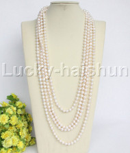 """length natural 130"""" 8mm round white freshwater pearls necklace j12155"""