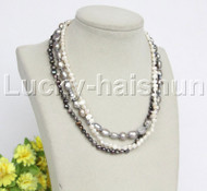"""Baroque 16"""" 3row white gray black freshwater pearls necklace 18KGP clasp j12157"""