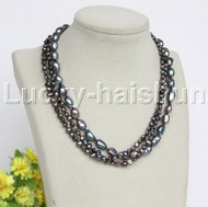 """Baroque 16"""" 3row black freshwater pearls necklace 18KGP clasp j12158"""
