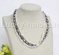 """Baroque 16"""" 3row white black freshwater pearls necklace 18KGP clasp j12159"""