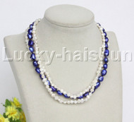"""Baroque 16"""" 3row white navy blue freshwater pearls necklace 18KGP clasp j12160"""