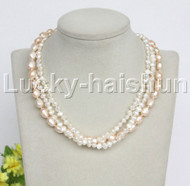 """Baroque 16"""" 3row white pink freshwater pearls necklace 18KGP clasp j12161"""