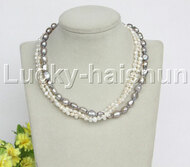 """Baroque 16"""" 3row white gray freshwater pearls necklace 18KGP clasp j12162"""