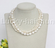"""Baroque 16"""" 3row white freshwater pearls necklace 18KGP clasp j12163"""