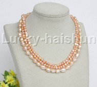 """Baroque 16"""" 3row pink freshwater pearls necklace 18KGP clasp j12164"""