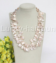 """natural 19"""" 2row 20mm Baroque pink purple pearls necklace j12165"""