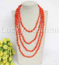 "length Genuine 86"" 12mm Baroque rice orange coral necklace j12167"