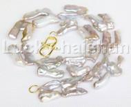 "natural 17"" 28mm baroque purple Reborn keshi pearls necklace j12168"