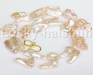 "natural 17"" 28mm baroque pink Reborn keshi pearls necklace j12169"