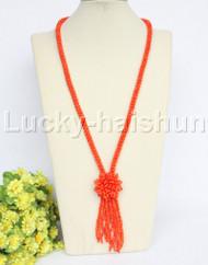"length Genuine handmade 28"" round orange coral necklace j12171"