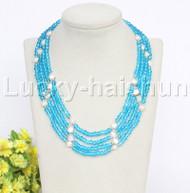 "Genuine 17"" 4 string white pearls faceted sky-blue Crystal necklace 18KGP j12173"