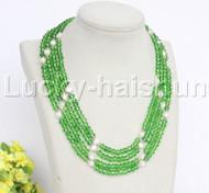 "Genuine 17"" 4 string white pearls faceted light green Crystal necklace 18KGP j12174"
