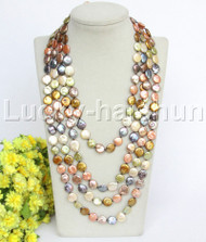 """natural length 94"""" 12mm coin fastener Multicolor pearls necklace j12180"""