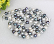 """length 46"""" 12mm round white black gray freshwater pearls necklace j12182"""