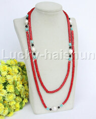 """length natural 50"""" 6mm red coral white pearls necklace j12183"""