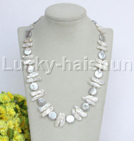 """NEW 21"""" 21mm Baroque tooth white BIWA gray coin pearls necklace j12184"""