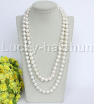 """length natural 46"""" 12mm round white freshwater pearls necklace j12185"""