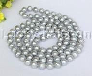 """length natural 46"""" 12mm round gray freshwater pearls necklace j12188"""