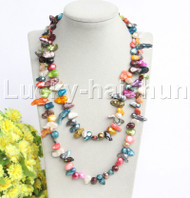 "length 42"" Baroque Multicolor freshwater pearls necklace j12191"