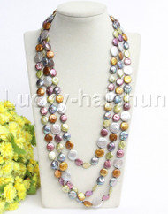 "natural length 78"" 14mm coin fastener Multicolor pearls necklace j12192"