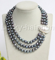 "natural 17"" 3row 10mm round peacock Black pearls necklace blister clasp j12193"