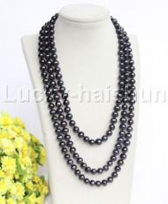 "Genuine 68"" 10mm round Black freshwater pearls necklace j12195"