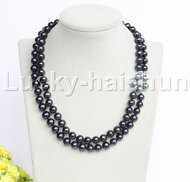 "Genuine 18"" 2row 10mm round Black freshwater pearls necklace pearl clasp j12196"