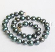 "luster 17"" 12mm round peacock Black pearls necklace 14K clasp j12199"