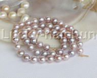 "luster 17"" 9mm round purple pearls necklace 14K clasp j12200"