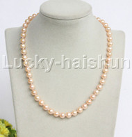 "AAA natural 17"" 9mm round pink freshwater pearls necklace 14K clasp j12203"