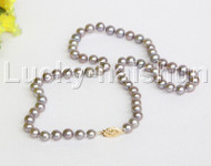 "AAA natural 17"" 7mm round gray freshwater pearls necklace 14K clasp j12204"