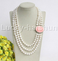"natural 21"" 3row 10mm round white pearls necklace seashell clasp j12205"