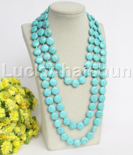 "length natural 70"" 15mm round coin fastener turquoise necklace j12206"