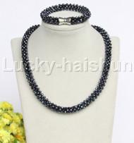 """natural 18"""" 10mm round dark blue crystal beads necklace bracelet set j12208"""