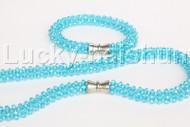"natural 18"" 10mm round sky-blue crystal beads necklace bracelet set j12209"