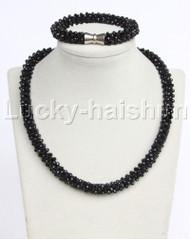 """natural 18"""" 10mm round Black crystal beads necklace bracelet set j12210"""