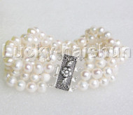 """natural 8"""" 4row 8mm round white pearls bracelet sterling silver clasp j12212"""