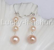 12mm 8mm natural Pink freshwater pearls dangle earrings 925sc hoop j12268
