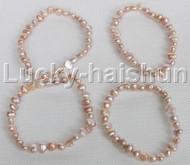 4piece stretchy 8mm Baroque purple freshwater pearls bracelet j12299