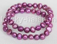 2piece stretchy 9mm Baroque purple freshwater pearls bracelet j12304