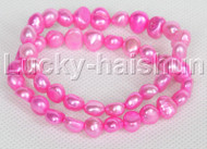 2piece stretchy 9mm Baroque pink freshwater pearls bracelet j12305