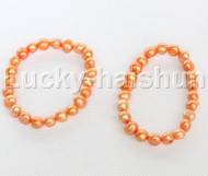 2piece stretchy 9mm Baroque golden freshwater pearls bracelet j12313