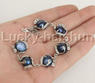 "8-9"" 14mm Baroque Blue pearls zircon bracelet bangle adjustable j12380"
