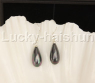 Dangle 8*15mm drip peacock Black sea shell pearls earring 18KGP Look j12389