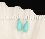 Dangle 8*15mm drip blue sea shell pearls earring 18KGP Look j12392