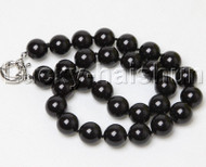 "18"" 14mm round jet black south sea shell pearls necklace j12399"