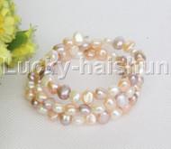 natural stretchy 3row bohemian white pink white purple pearls bracelet j12467