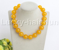 """AAA natural 18"""" 20mm round yellow jade string beads necklace j12471"""